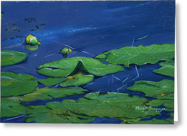 Greeting Card featuring the painting Waterlilies  by Margit Sampogna