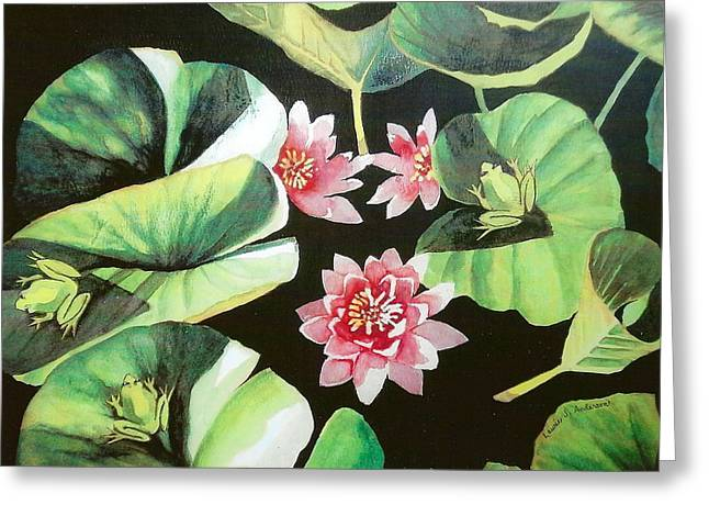 Waterlilies With Frogs Greeting Card