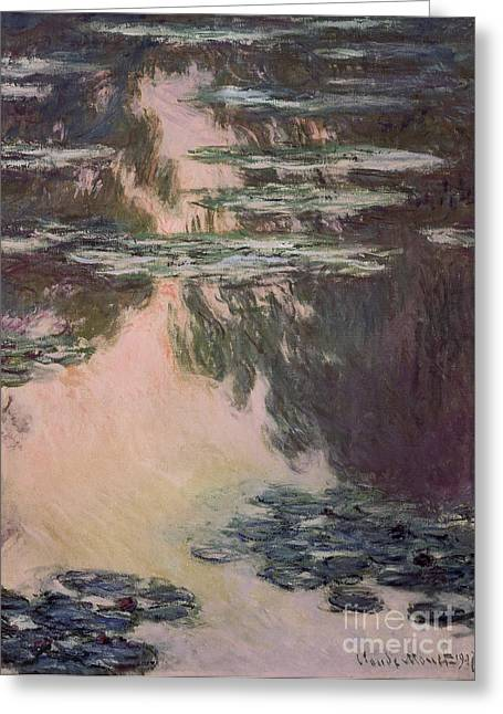 Waterlilies With Weeping Willows Greeting Card