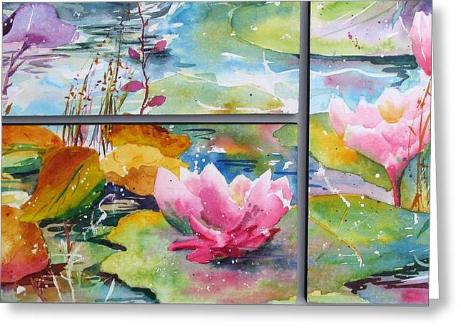 Waterlillies Triptych Greeting Card