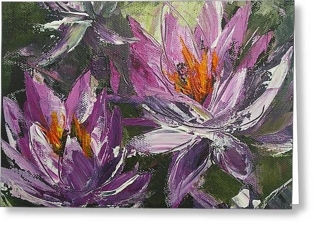 Greeting Card featuring the painting Waterlilly by Chris Hobel