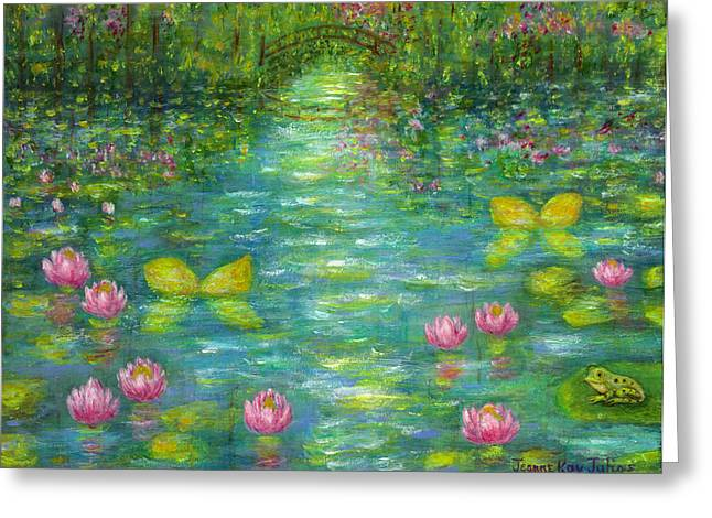 Waterlily Butterflies Greeting Card by Jeanne Kay Juhos