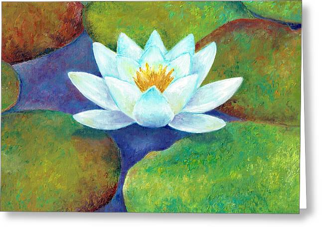 Greeting Card featuring the painting Waterlily by Elizabeth Lock