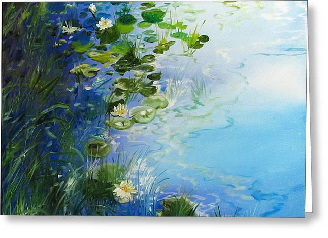 Waterlily Landscape Greeting Card by Marcia Baldwin
