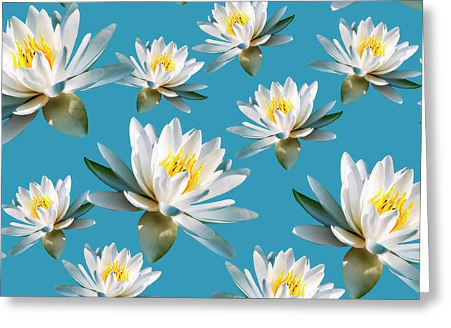 Greeting Card featuring the mixed media Waterlily Pattern by Christina Rollo