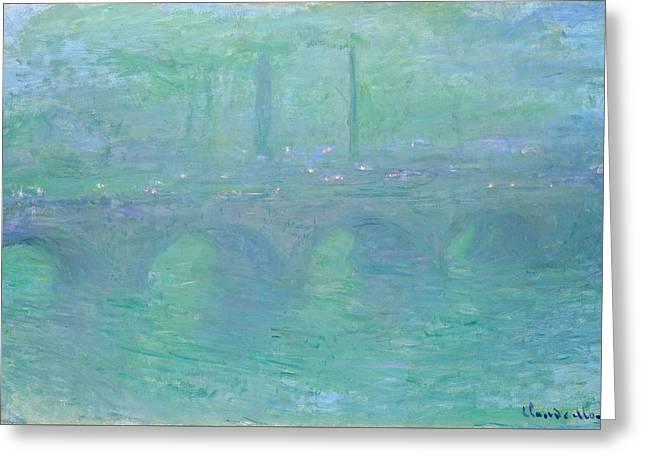 Waterloo Bridge, Dusk Greeting Card by Claude Monet