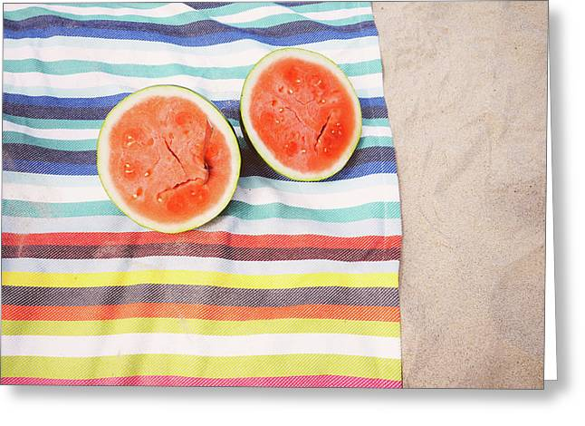 Watermelon Beach Picnic Greeting Card by Fbmovercrafts