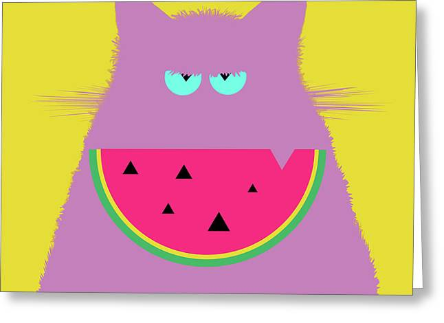 Watermelon Lilac Cat Greeting Card