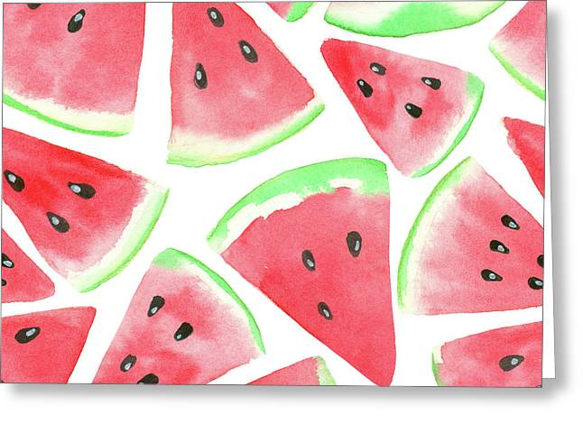 Watermelon Slices Pattern Greeting Card