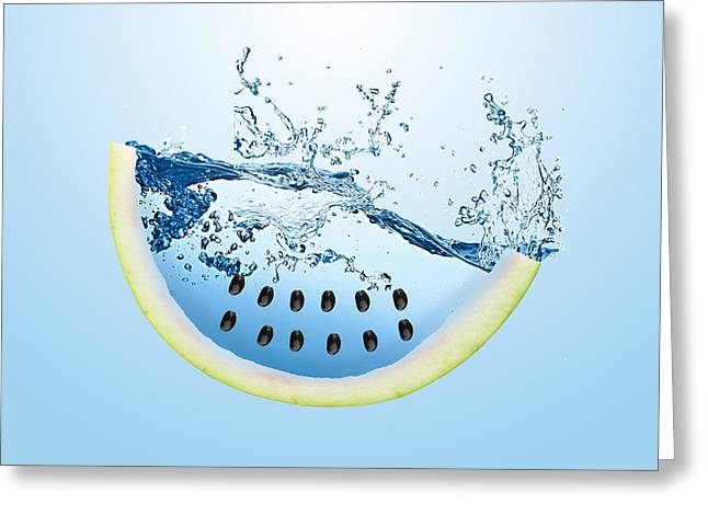 Watermelon Splash Greeting Card by Marvin Blaine