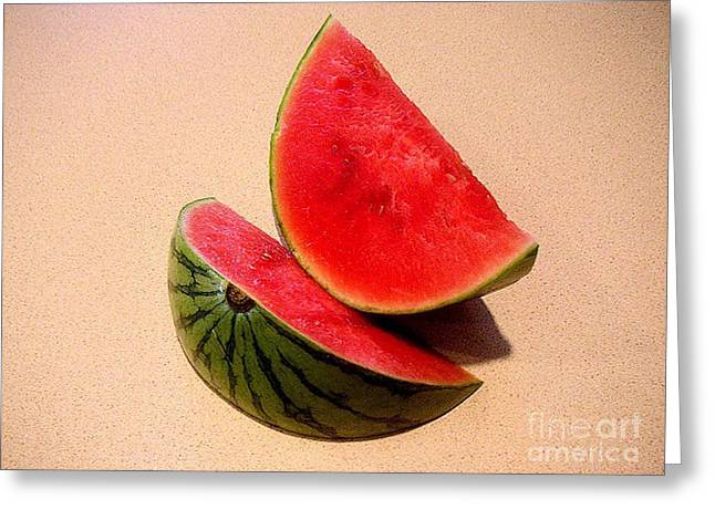 Watermelon Study Greeting Card by Lucyna A M Green