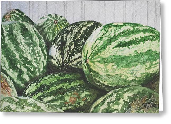 Watermelon Greeting Card by Sue Ann Glenn