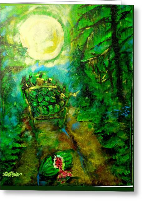 Greeting Card featuring the painting Watermelon Wagon Moon by Seth Weaver