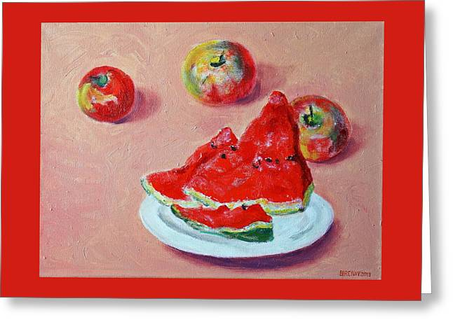 Watermelon With Apples Greeting Card by Irene Vital