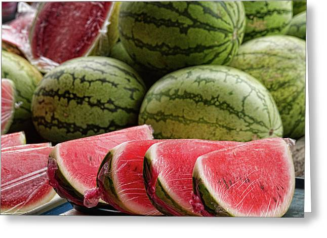 Watermelons At The Market Greeting Card