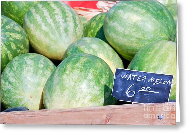 Watermelons With A Price Sign Greeting Card by Paul Velgos