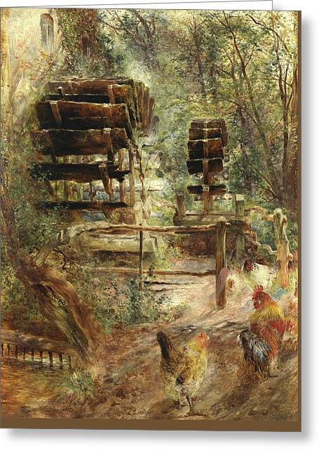Watermill At Rossett, North Wales Greeting Card by William Huggins