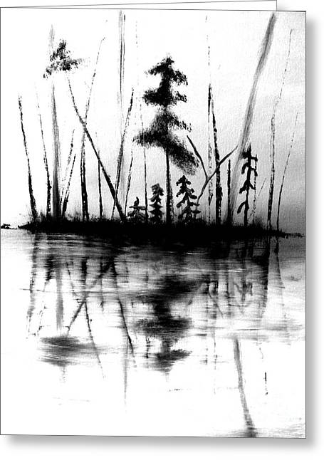 Greeting Card featuring the painting Waters Edge by Denise Tomasura
