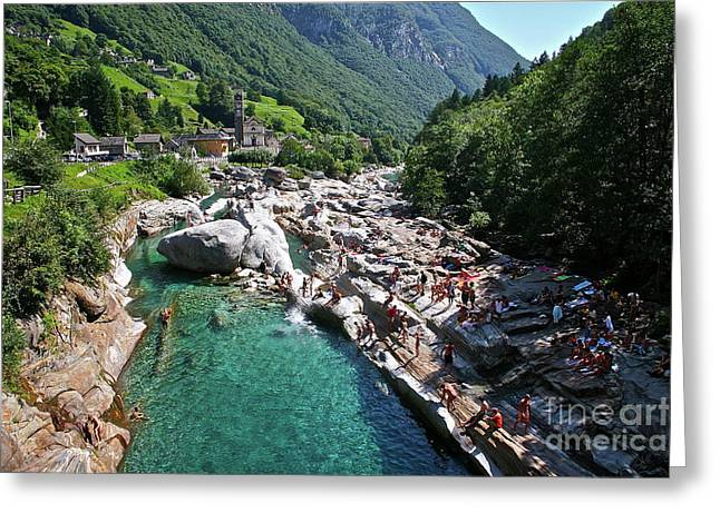 Waters Of Valle Verzasca  Greeting Card by Heidi Peschel
