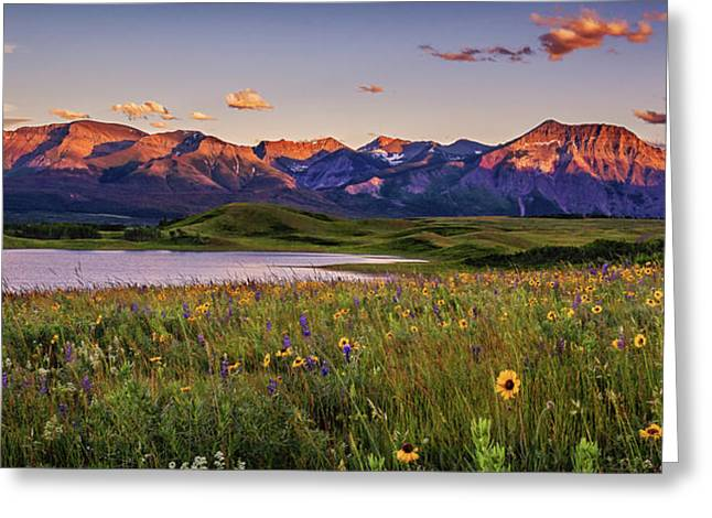 Waterton Lakes Sunset Greeting Card by Tracy Munson