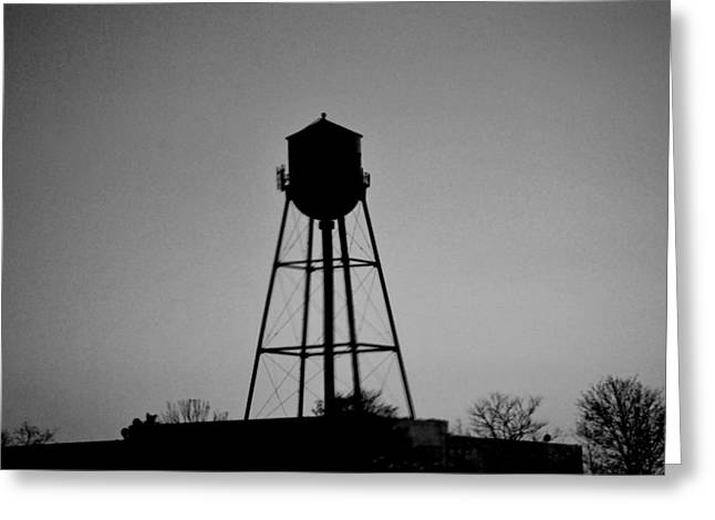 Watertower In Black And White Greeting Card by Michelle  BarlondSmith