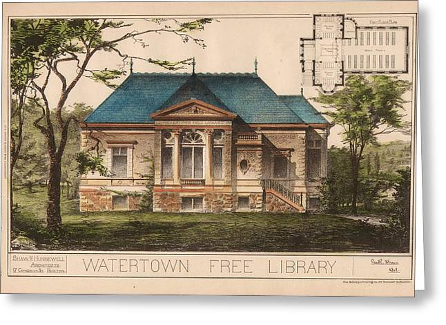 Watertown Free Library. Watertown Ma. 1884 Greeting Card by Geo R Shaw