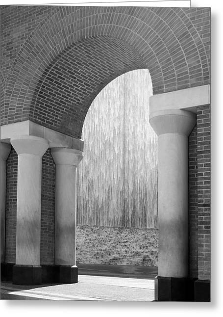 Waterwall And Arch 3 In Black And White Greeting Card