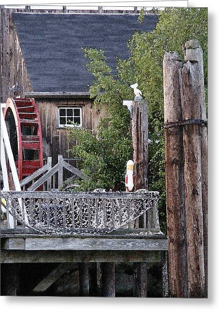 Greeting Card featuring the photograph Waterwheel Office Building by Margie Avellino