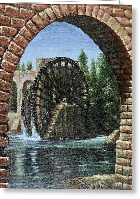 Greeting Card featuring the painting Waterwheels  by Laila Awad Jamaleldin