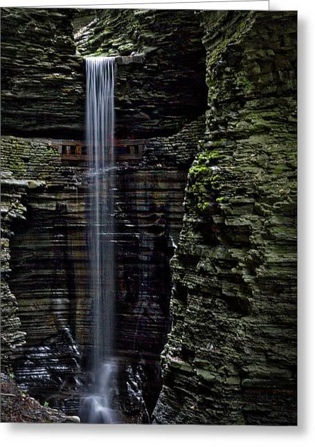 Watkins Glen Cavern Cascade Waterfall #3 Greeting Card by Stuart Litoff