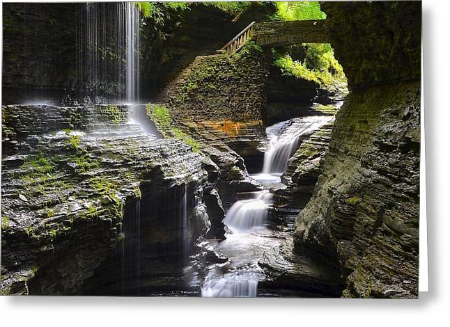 Watkins Glen Rainbow Falls Squared Greeting Card by Frozen in Time Fine Art Photography