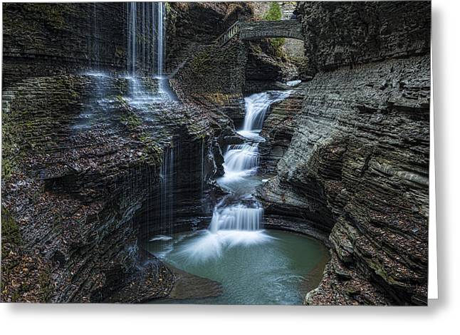 Watkins Glen Rainbow Falls Greeting Card by Stephen Stookey