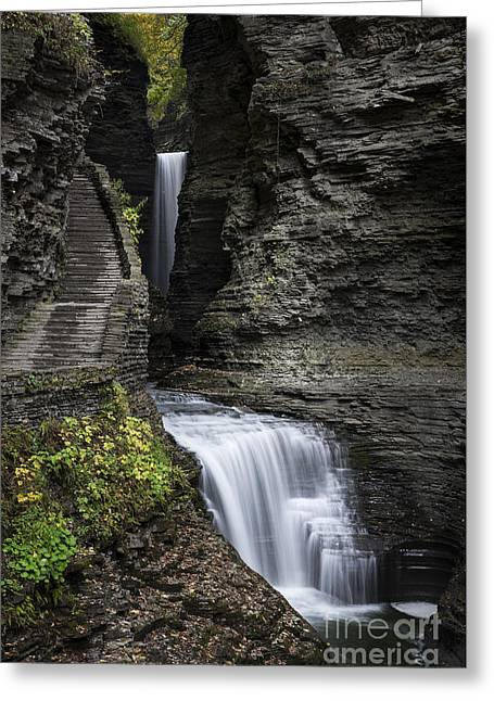 Watkins Glen Waterfall  Greeting Card by John Greim
