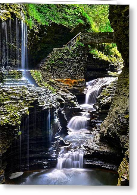 Watkins Rainbow Falls Greeting Card by Frozen in Time Fine Art Photography
