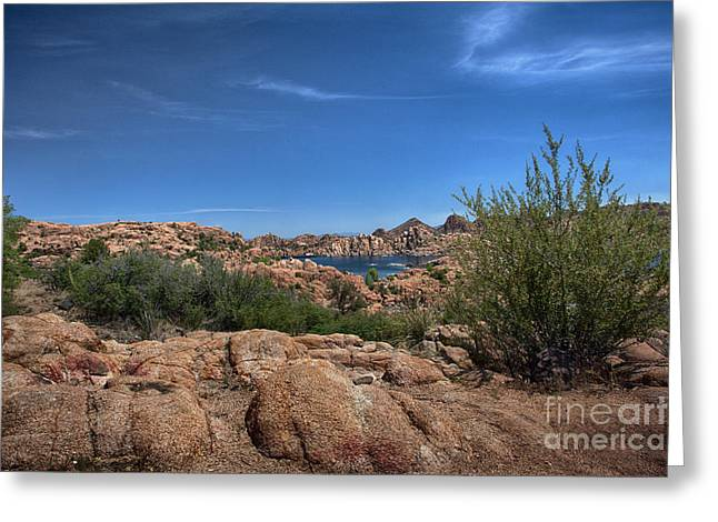 Watson Lake And The Granite Dells Greeting Card by Anne Rodkin