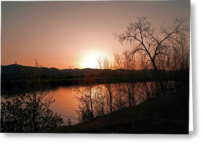 Sunset Greeting Cards Photographs Greeting Cards - Watson Lake at Sunset Greeting Card by James Steele
