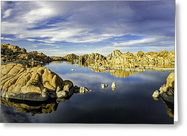Watson Lake Panoramic 30x12 Greeting Card by Tom Clark