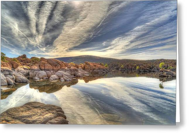Watson Lake Reflections Greeting Card by Donna Kennedy