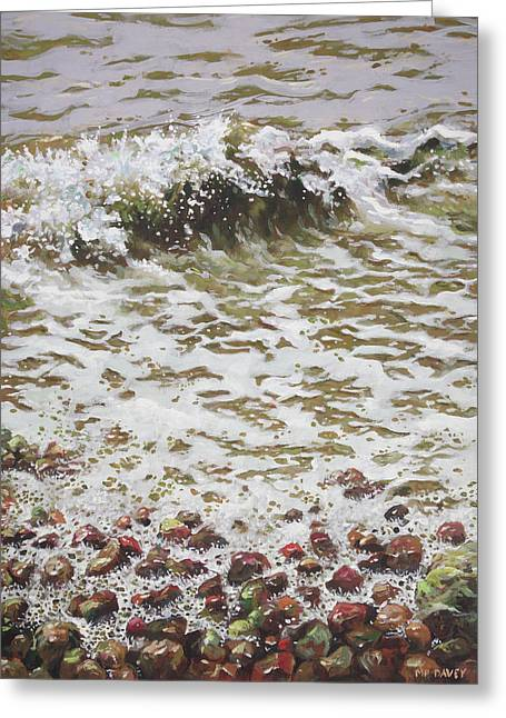Greeting Card featuring the painting Wave And Colorful Pebbles by Martin Davey