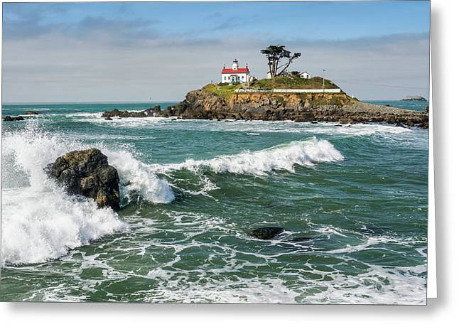 Greeting Card featuring the photograph Wave Break And The Lighthouse by Greg Nyquist