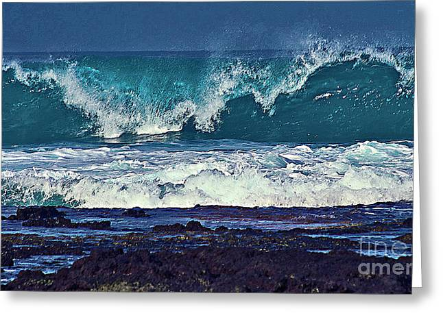 Wave Breaking On Lava Rock 2 Greeting Card