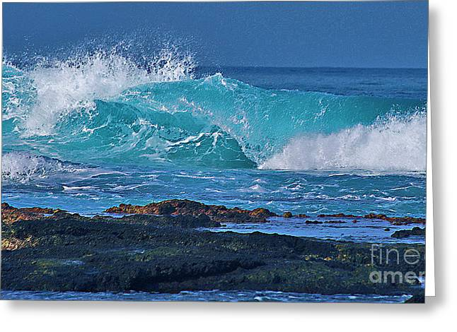 Wave Breaking On Lava Rock Greeting Card