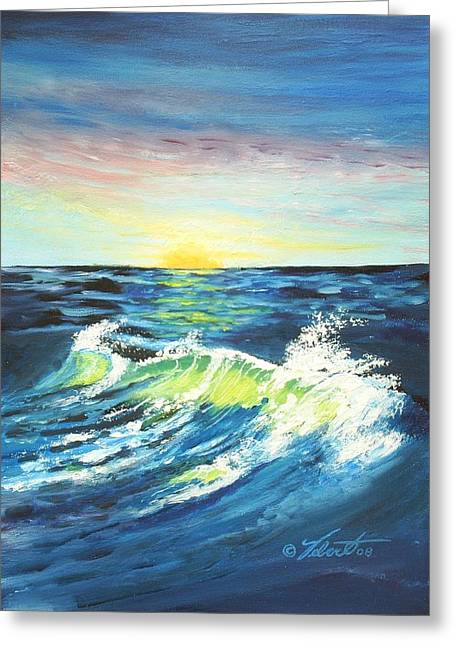 Wave By Early Light Greeting Card by Dennis Vebert