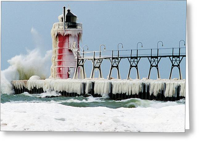 Wave Crashing On Snow-covered South Greeting Card by Panoramic Images