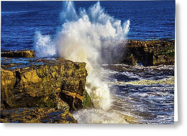 Wave Crashing Santa Cruz Greeting Card by Garry Gay