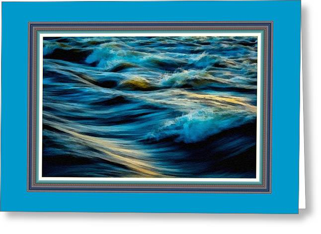 Wave Fantasia L B With Decorative Ornate Printed Frame. Greeting Card by Gert J Rheeders