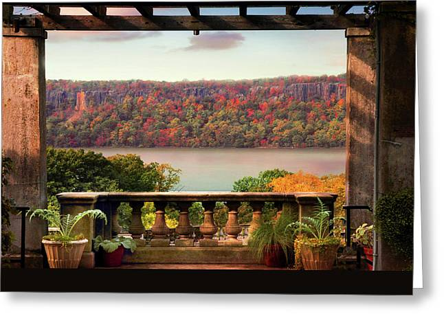 Wave Hill Pergola View Greeting Card by Jessica Jenney
