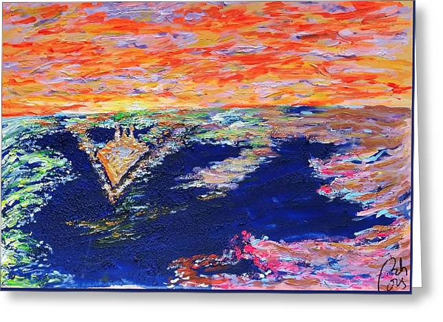 Wave In Blue Ocean And Gold Sky Greeting Card by Bachmors Artist