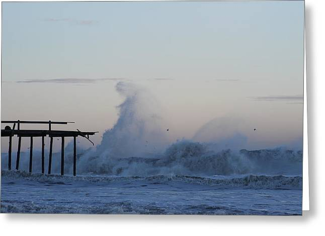 Wave Towers Over Oc Fishing Pier Greeting Card