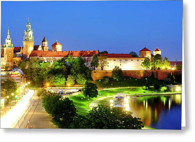 Greeting Card featuring the photograph Wavel Castle by Fabrizio Troiani